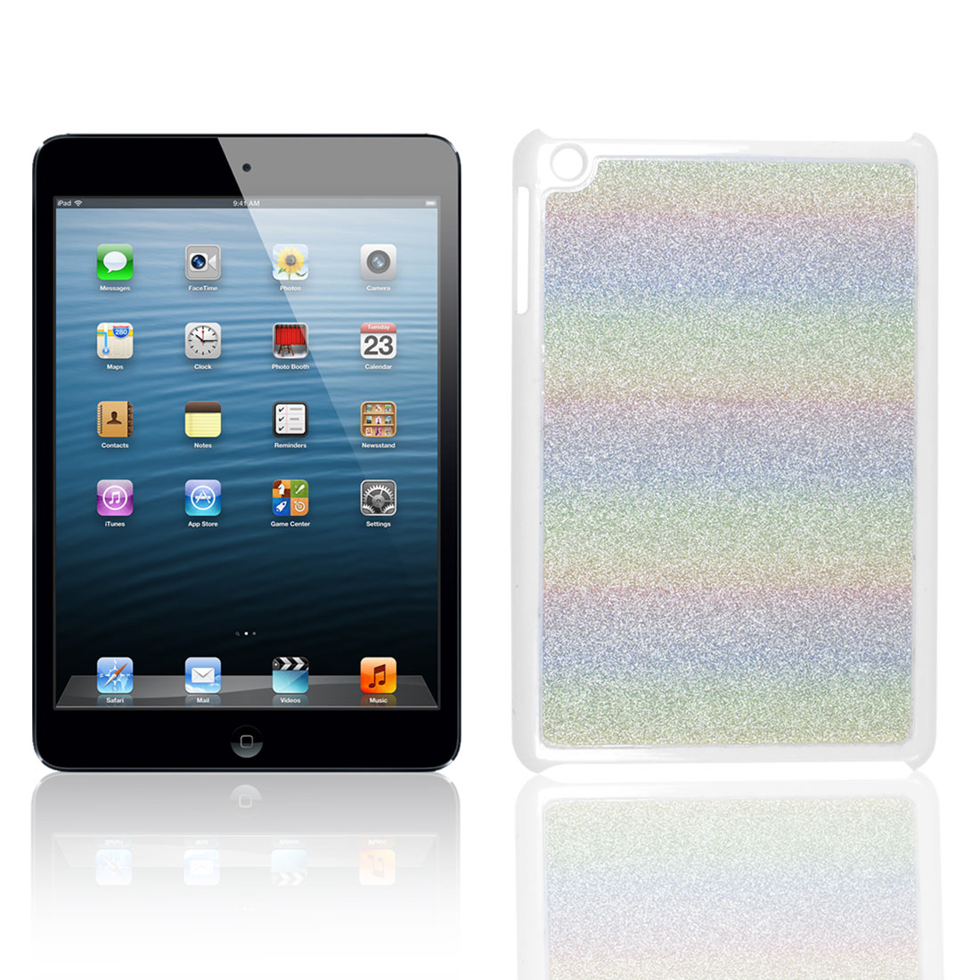 Colorful Glittery Horizontal Stripes Coated Hard Back Case Cover for iPad Mini