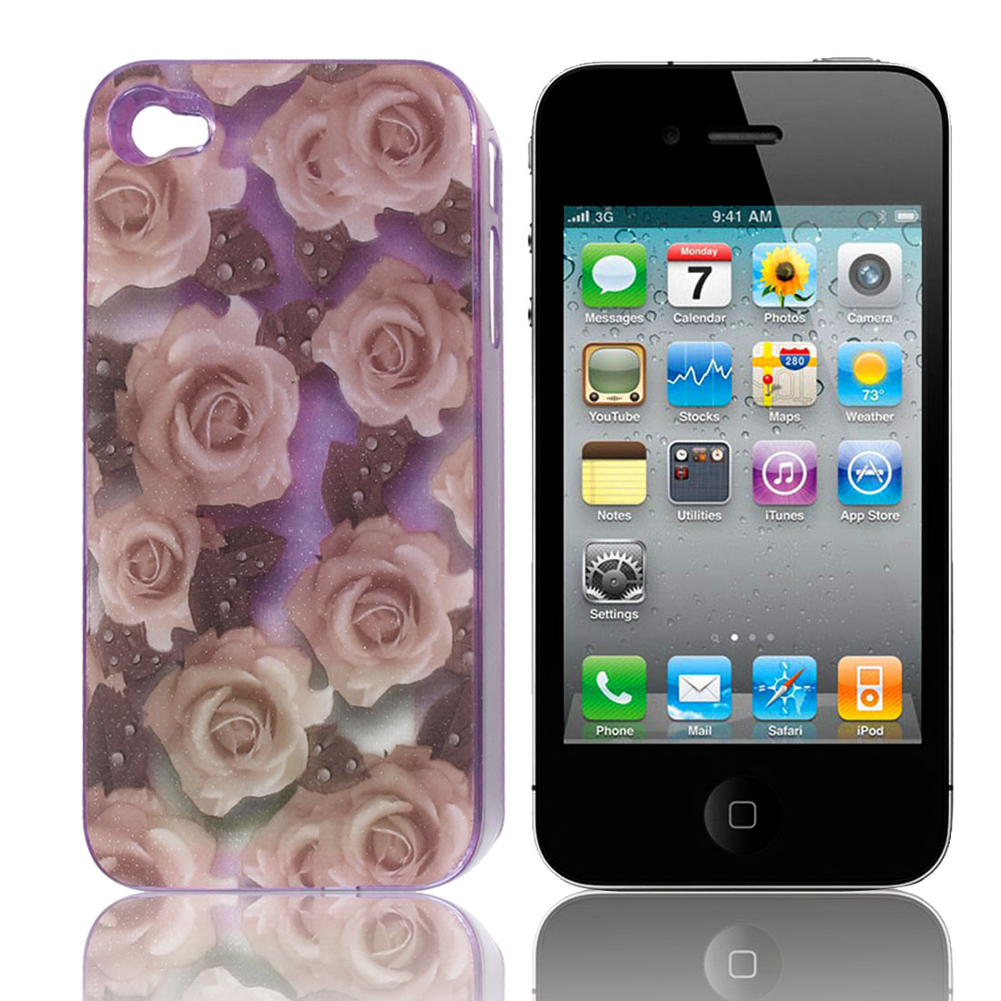 Rose Flower Sense Flash Light LED Color Changed Back Case Cover for iPhone 4 4S