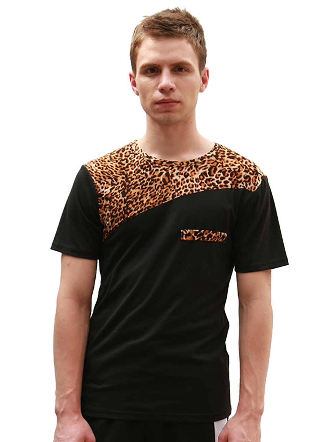 Men Black V-neck Leopard Prints Detail Stretch Simple Tee Shirt L