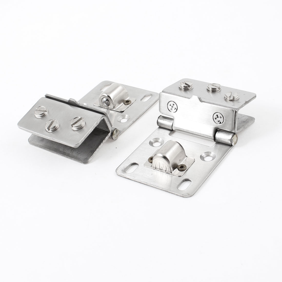 Pair Cabinet Door Wall Mounted Alloy Glass Hinge Silver Tone