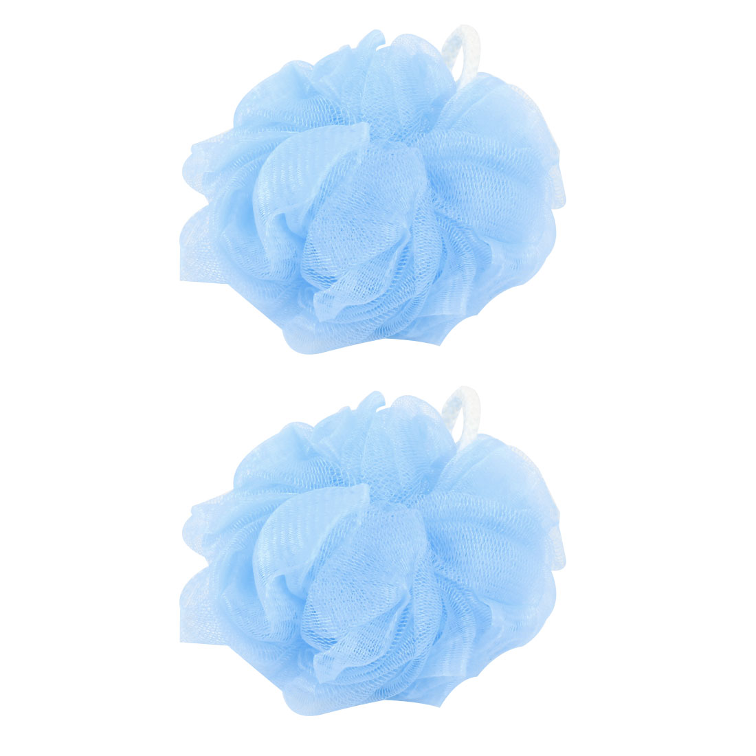 2 Pcs Bathroom Body Washing Bathing Shower Pouf Light Blue w Loop