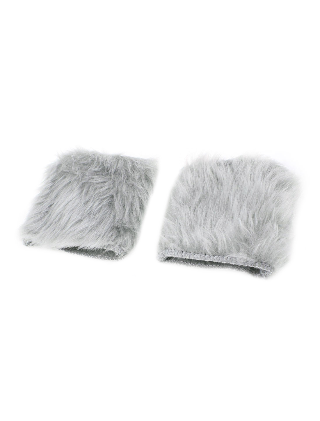 Pair Light Gray Faux Fur Fingerless Winter Gloves Warmer for Ladies