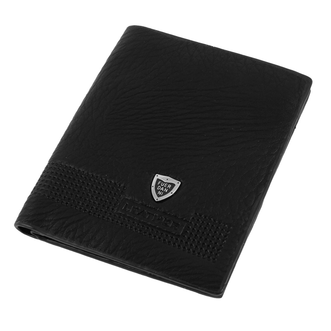 Black Faux Leather Coins Credit Cards Holder Biflod Wallet for Men