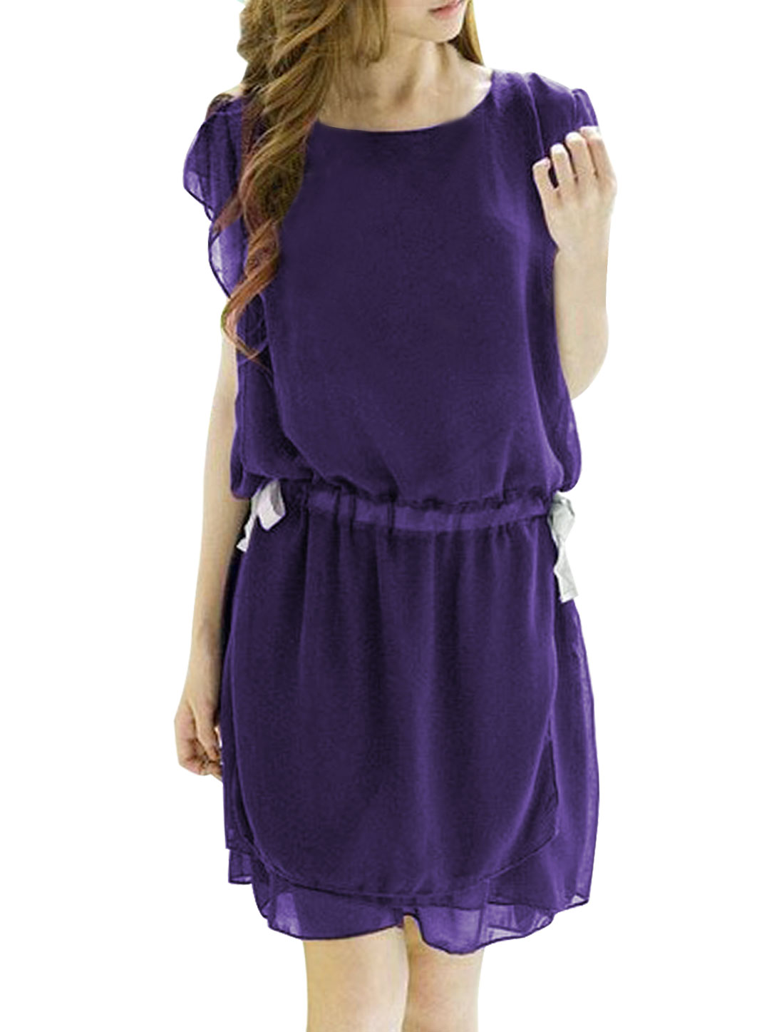 Woman Purple Short Sleeve Waist Tie Lining Tiered Casual Dress XL