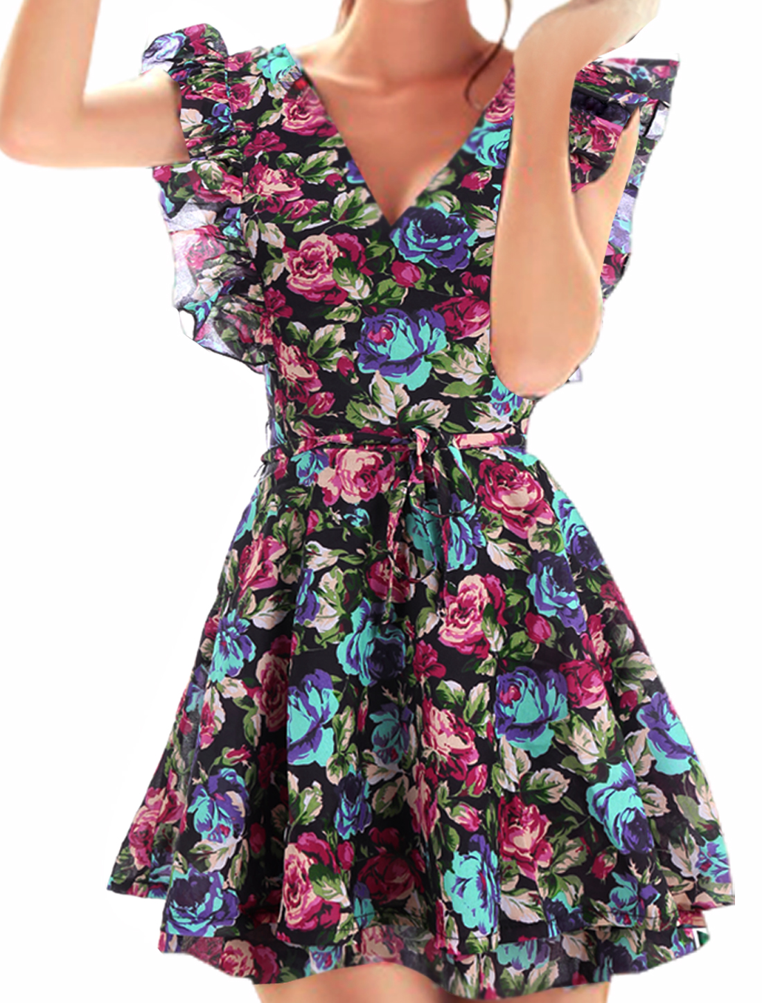 Ladies Multicolor Double V Neck Floral Prints Tiered Self Tie String Dress L