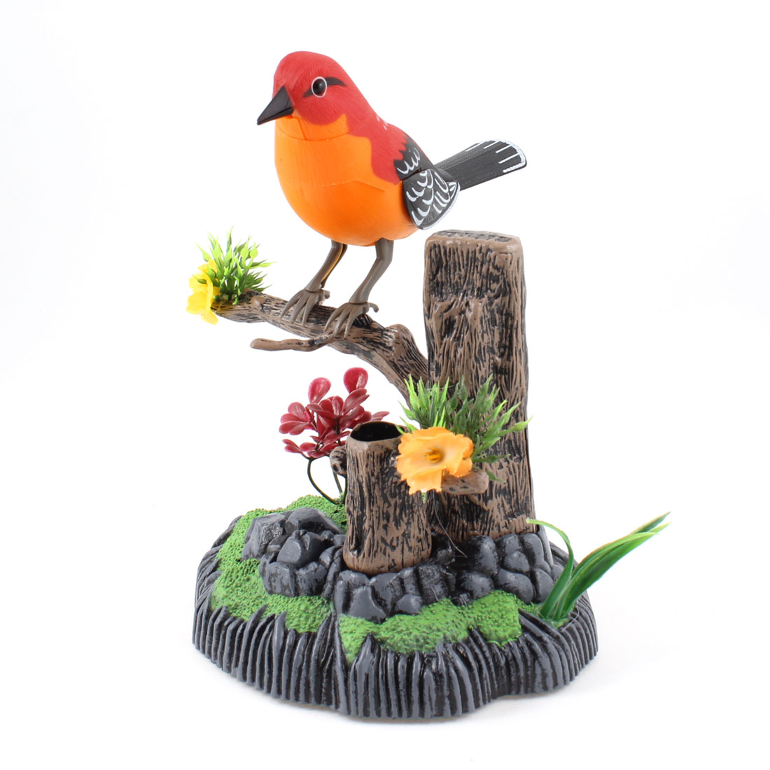 Red Orange Black Singing Bird Pen Holder Desk Decor