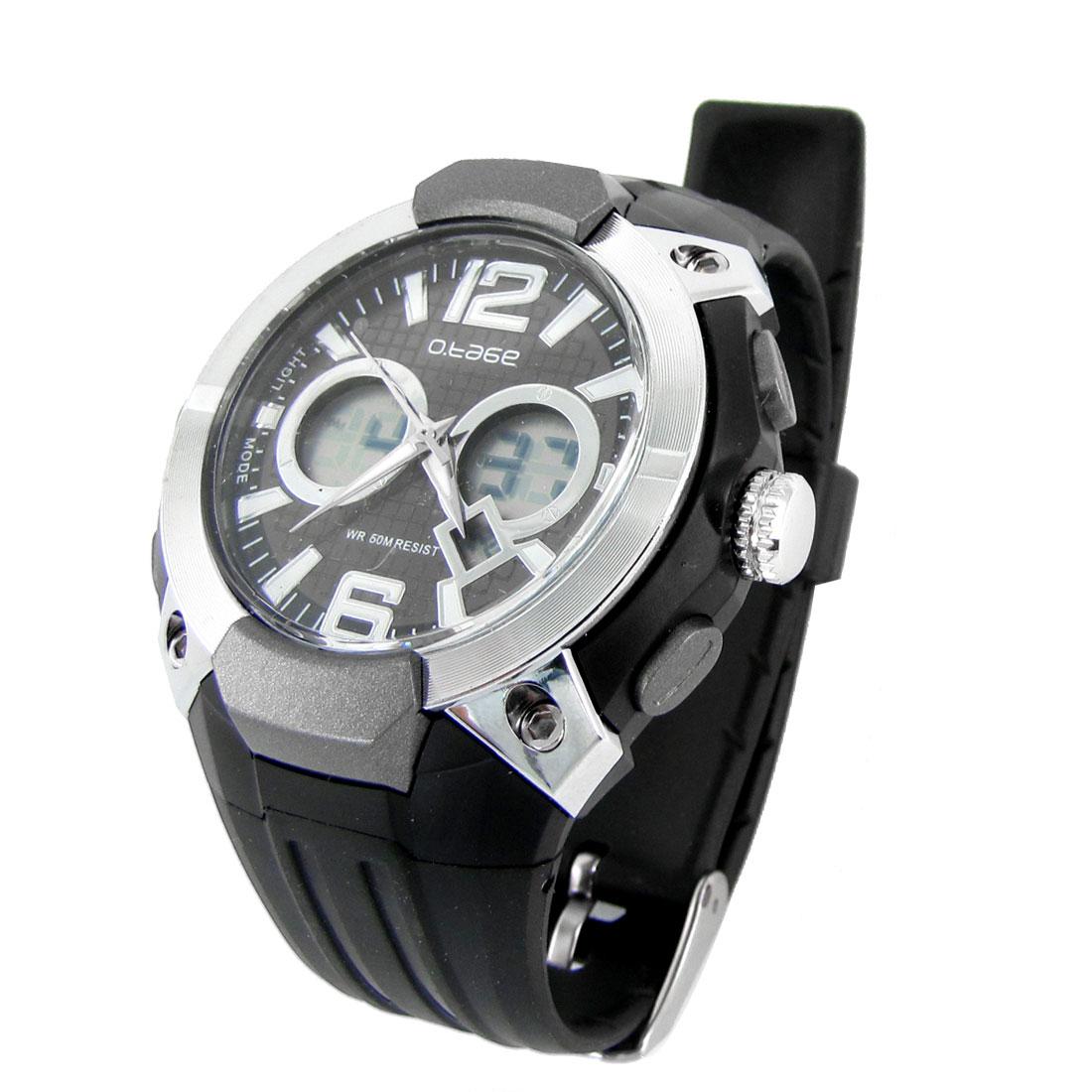 Men Black Wide Watchband LCD Screen Stopwatch Coldlight Digital Sports Watch