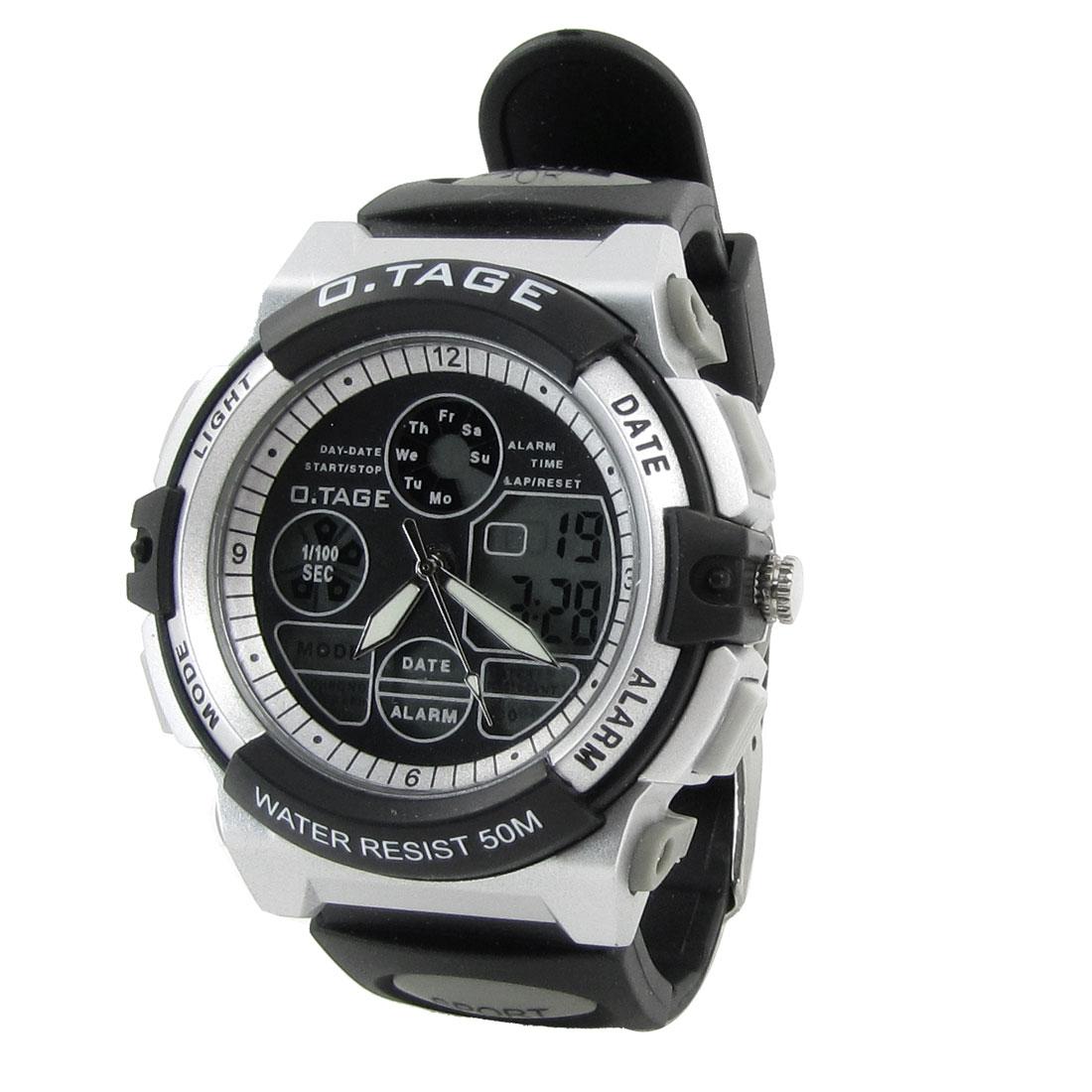 Black Adjusting Band Stopwatch Alarm Digital Sports Watch Wristwatch for Man