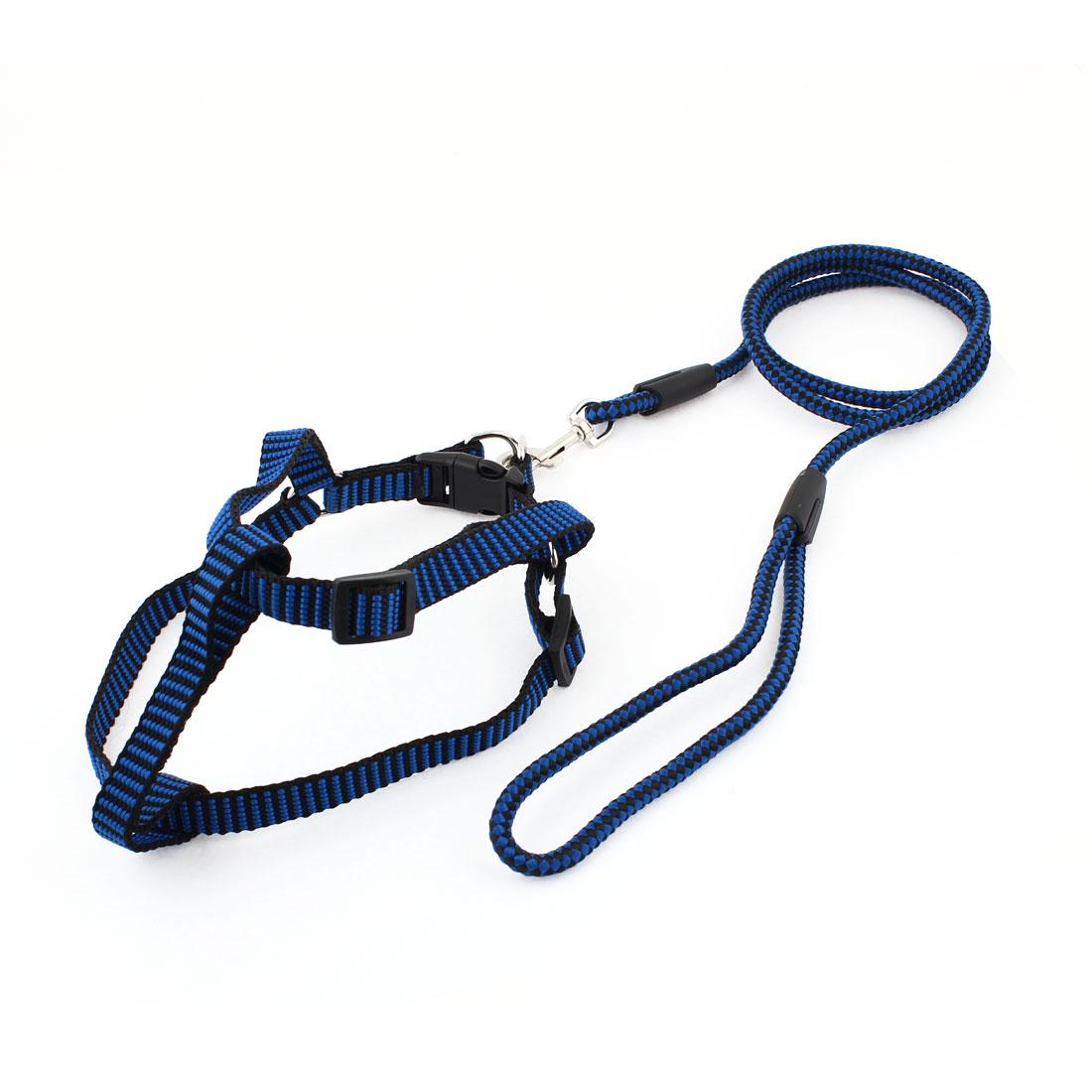 0.6cm Wide Blue Black Check Pattern Pet Dog Harness Halter Leash