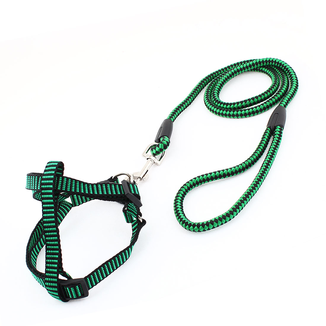 1cm Width Black Green Nylon Ajustable Harness Halter Leash for Pet Dog