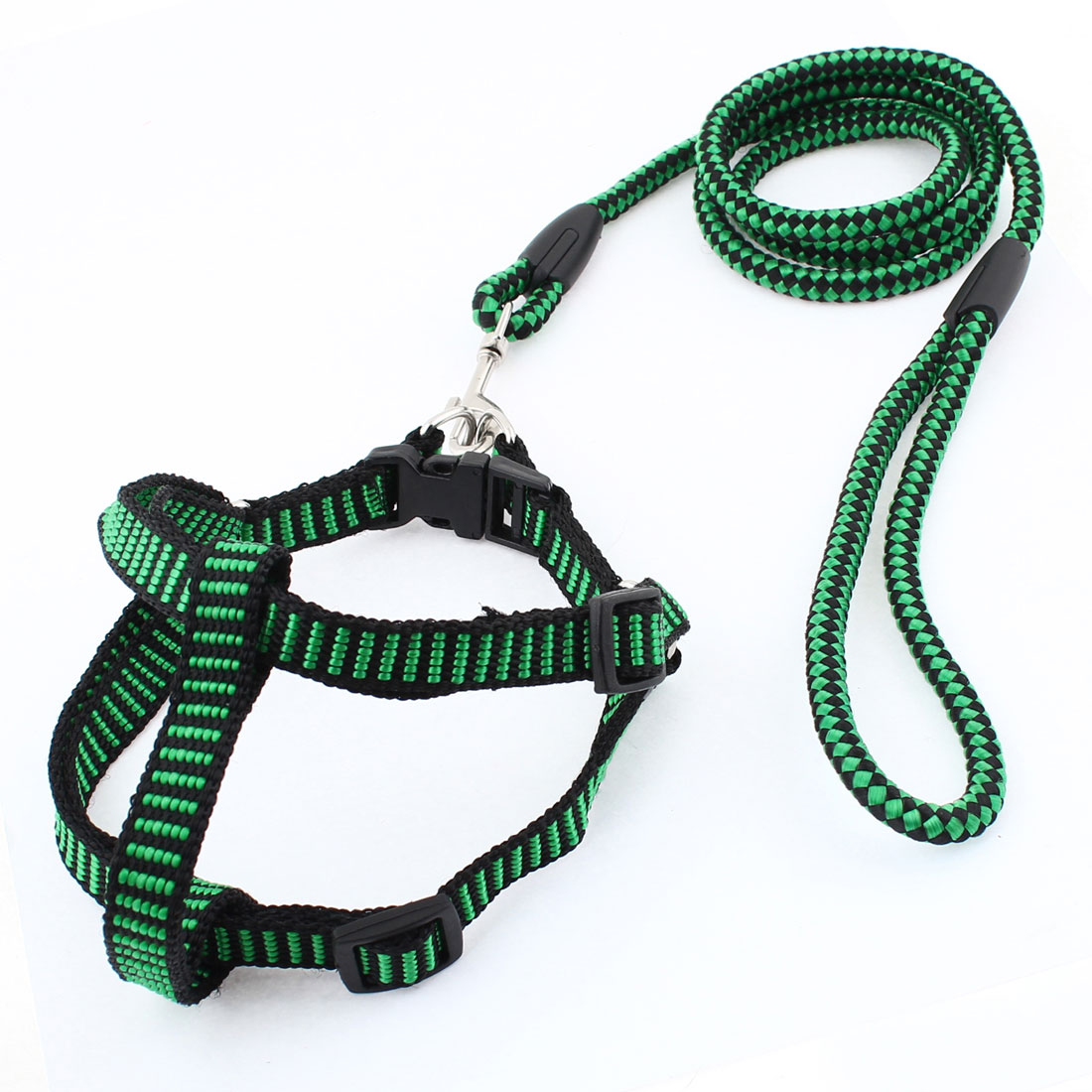 0.8cm Width Black Green Nylon Ajustable Pet Dog Harness Halter Leash