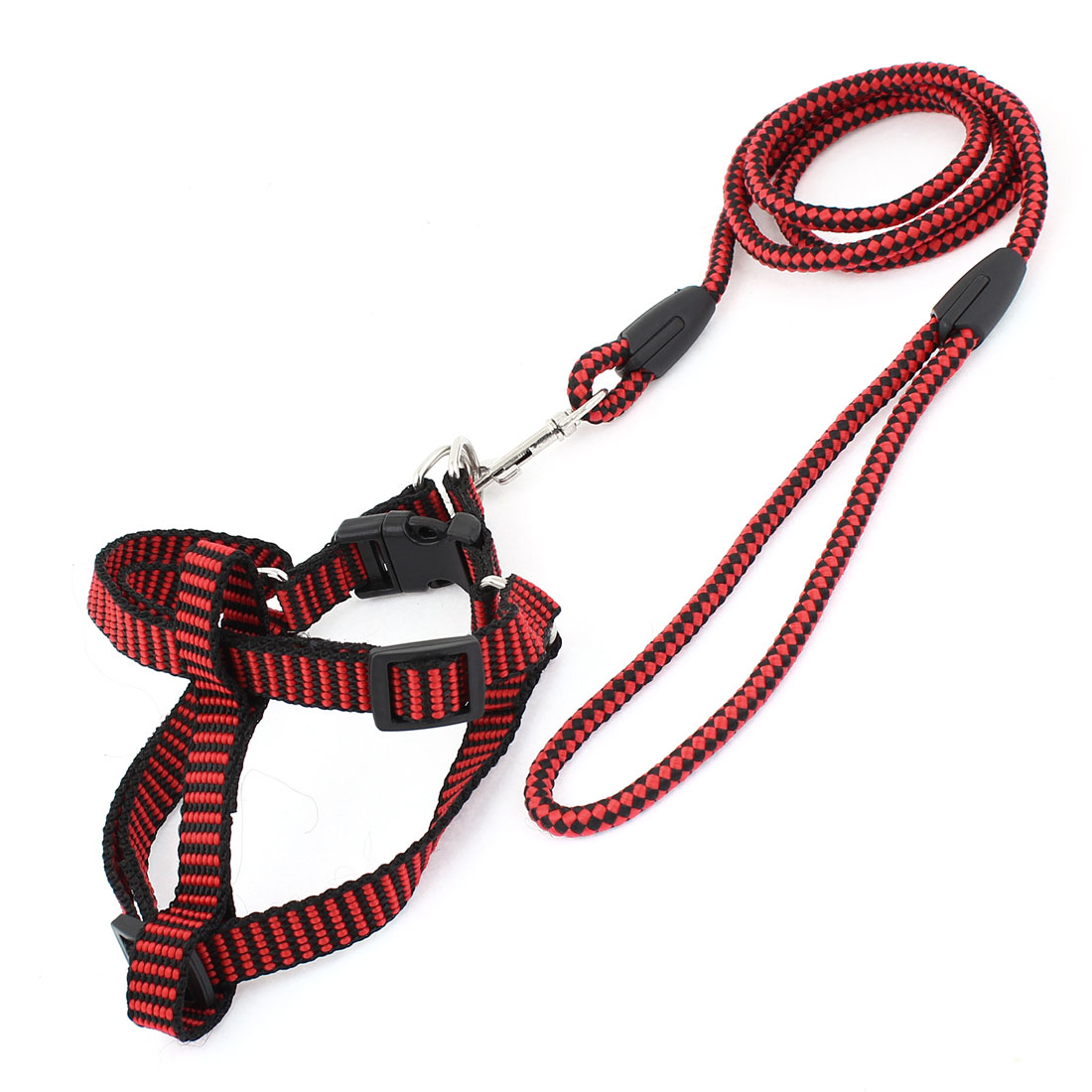 0.6cm Wide Red Black Check Pattern Adjustable Dog Harness Leash Size XL