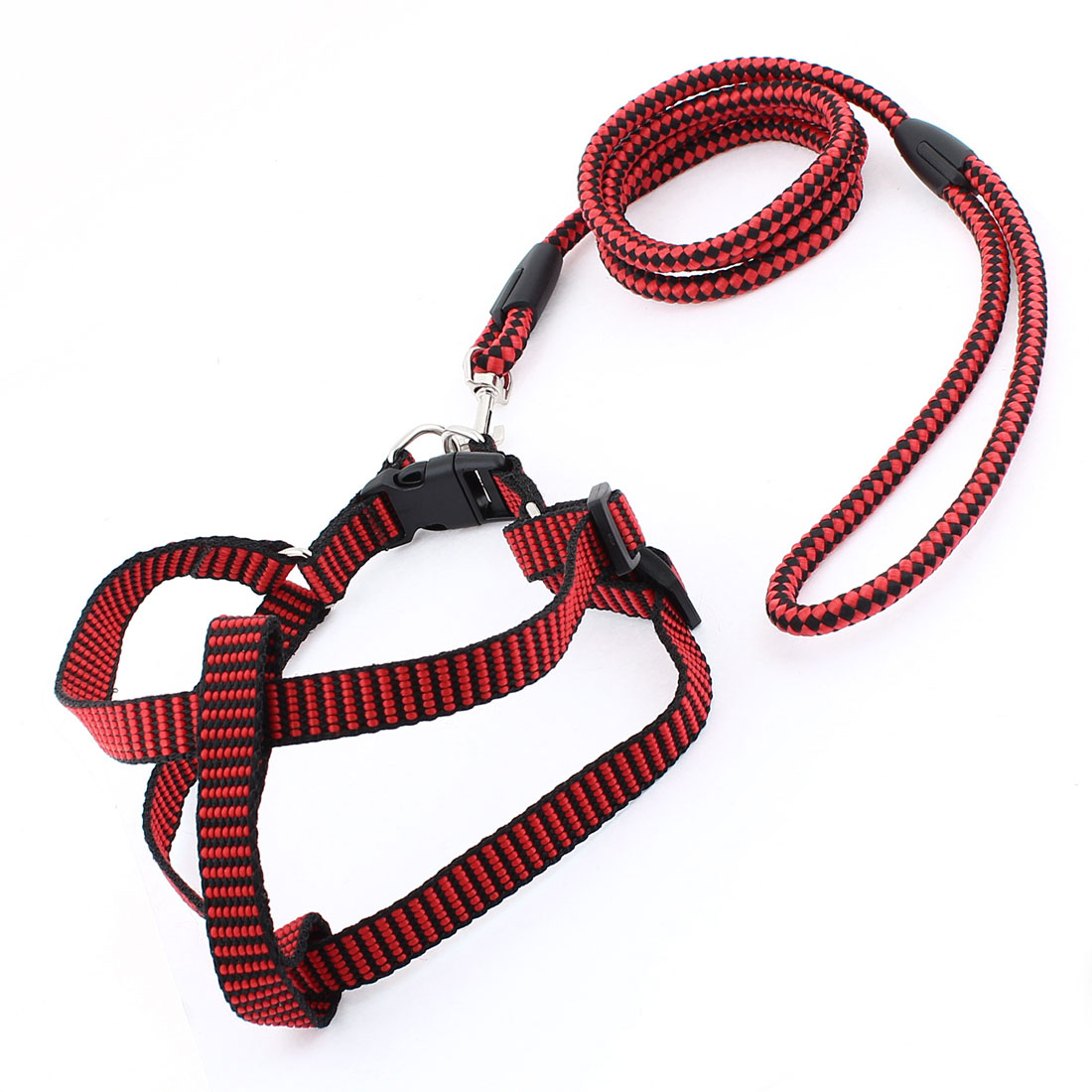 Red Black Check Pattern Lobster Hook Design Dog Harness Leash Size XL