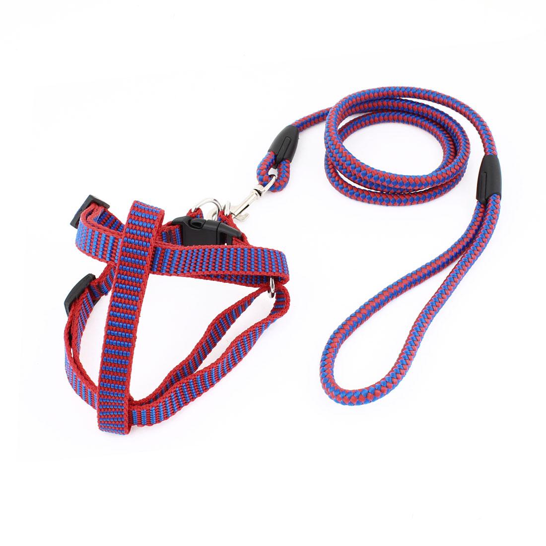 0.8cm Wide Red Blue Nylon Adjustable Harness Halter Leash for Pet Dog