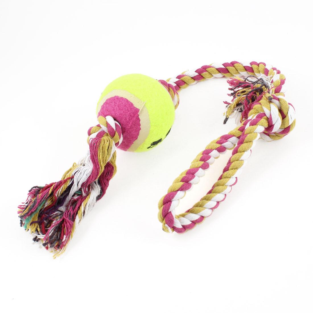 52cm Long Pet Dog Puppy Yellowgreen Fuchsia Ball Knot Tug Training Toy