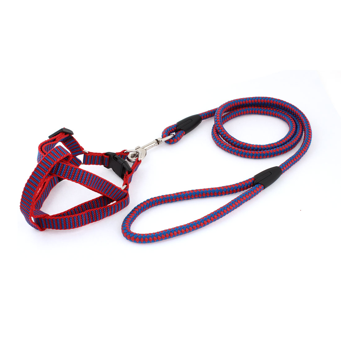 Lobster Clasp Design Check Pattern Dog Harness Leash Red Blue 0.9cm Wide
