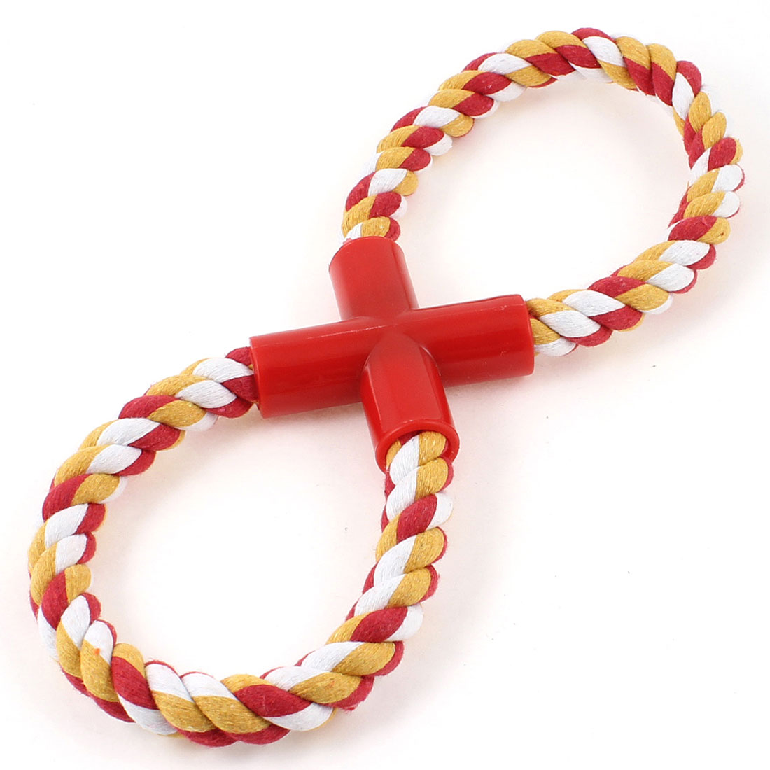 Red White Yellow Knotting Rope Figure 8-Shaped Chew Tug Toy for Pet Dog