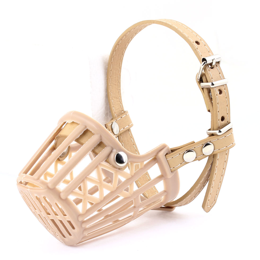 Single Pin Buckle Beige Plastic Adjustable Mesh Muzzle for Dog Doggie