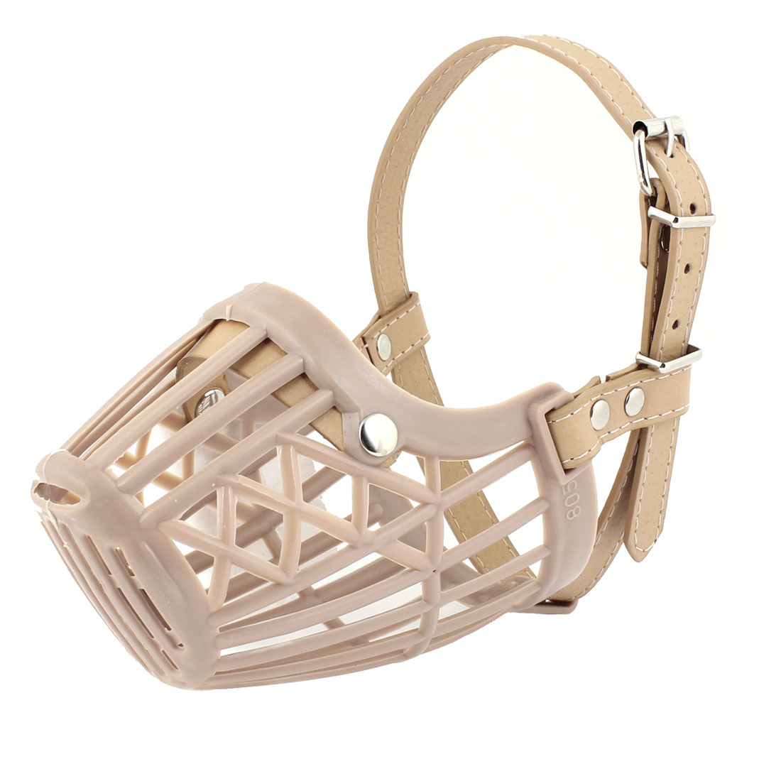 Beige Plastic Faux Leather Adjustable Pet Dog Mask Bark Bite Mesh Mouth Muzzle Anti Stop Chewing
