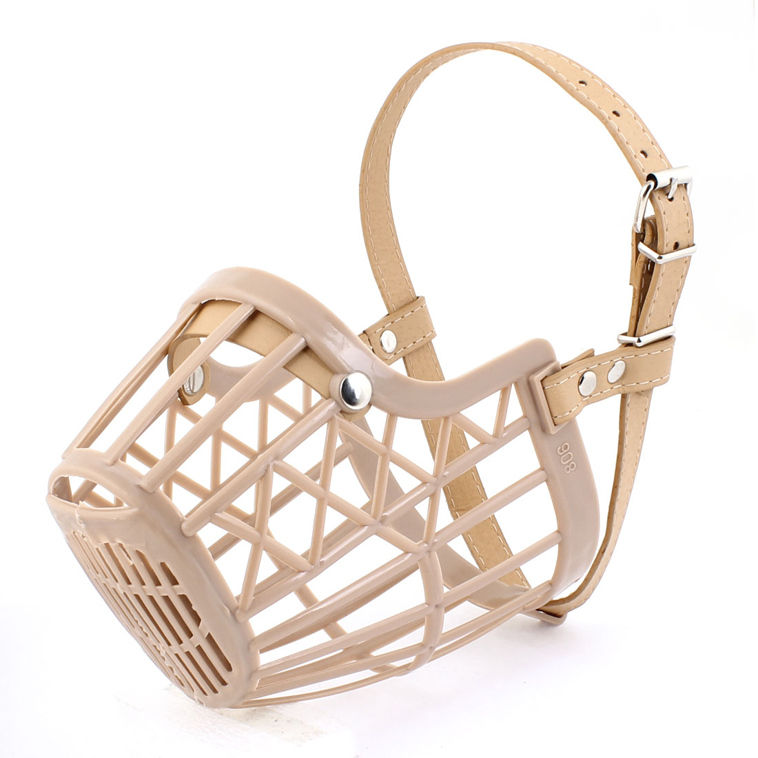 Pet Dog Doggie Beige Plastic Faux Leather Adjustble Mesh Muzzle Guard