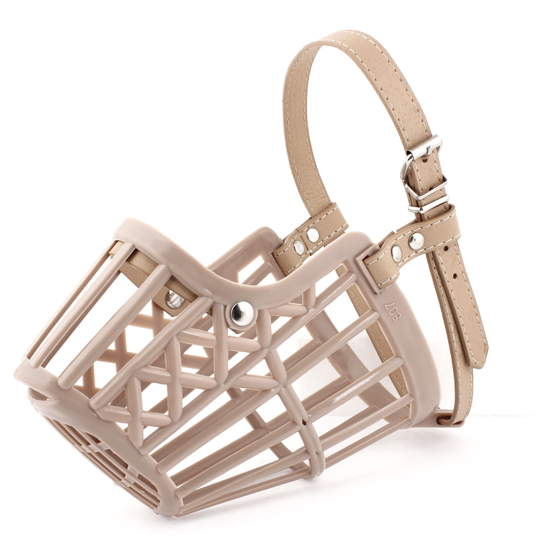 Adjustable Single Pin Buckle Strap Beige Plastic Mesh Muzzle for Dog