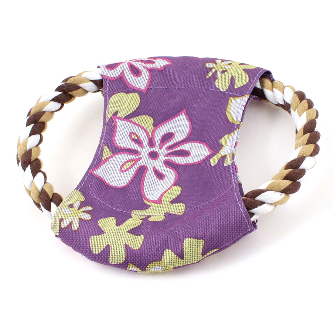 Twister Colors Rope Purple Flower Print Exercising Flying Frisbee Toy for Pet Doggie