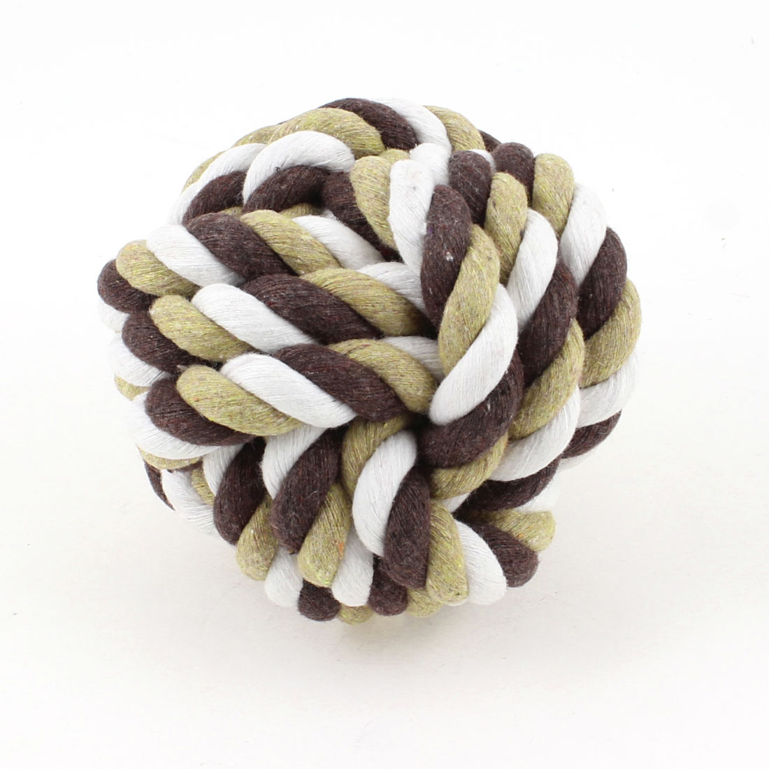 "Tri Color 3.3"" Diameter Cotton Strand Cord Woven Knot Dog Rope Ball Toy"