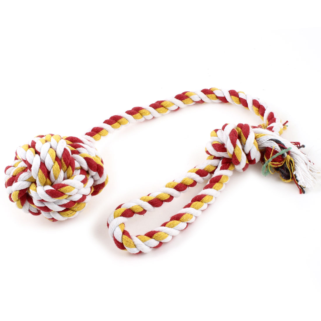 "Dog Pet Red Yellow White Cotton Braided Rope Ball Chew Knot Toy 19"" Long"