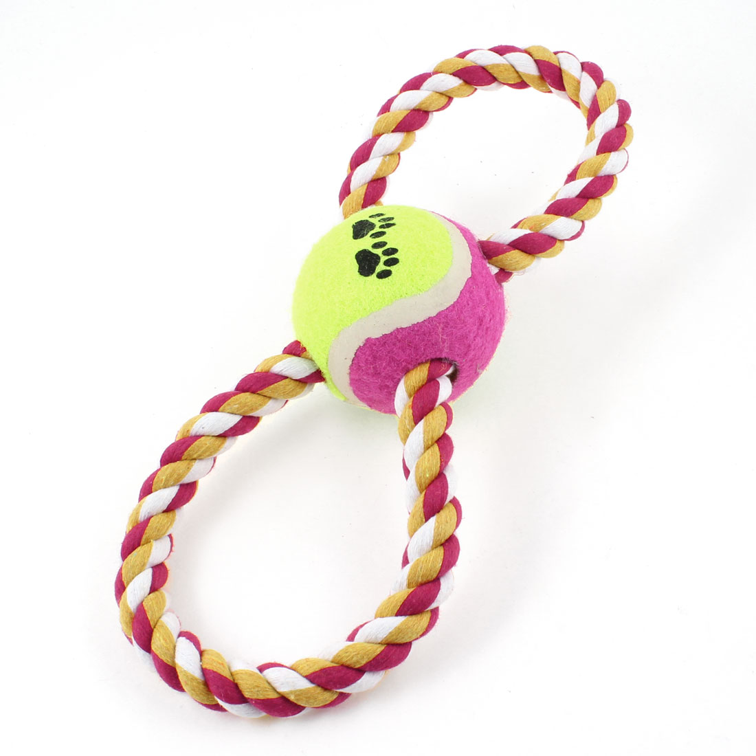 Pet Dog Puppy Yellowgreen Fuchsia Ball 8 Shape Knot Rope Tug Training Toy