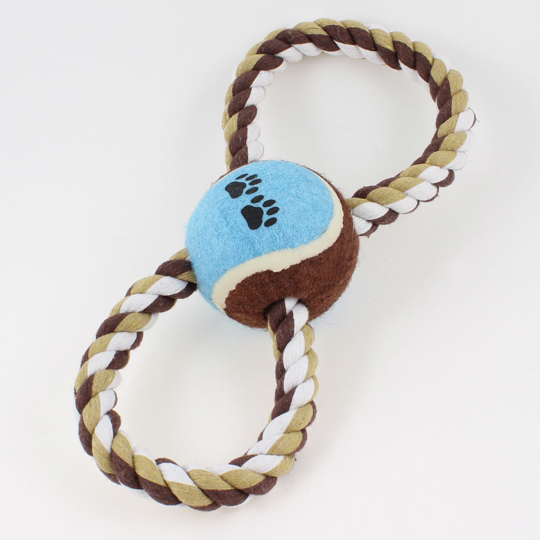 8 Shape Cotton Knot Rope Blue Ball Pet Puppy Chew Tug Toy