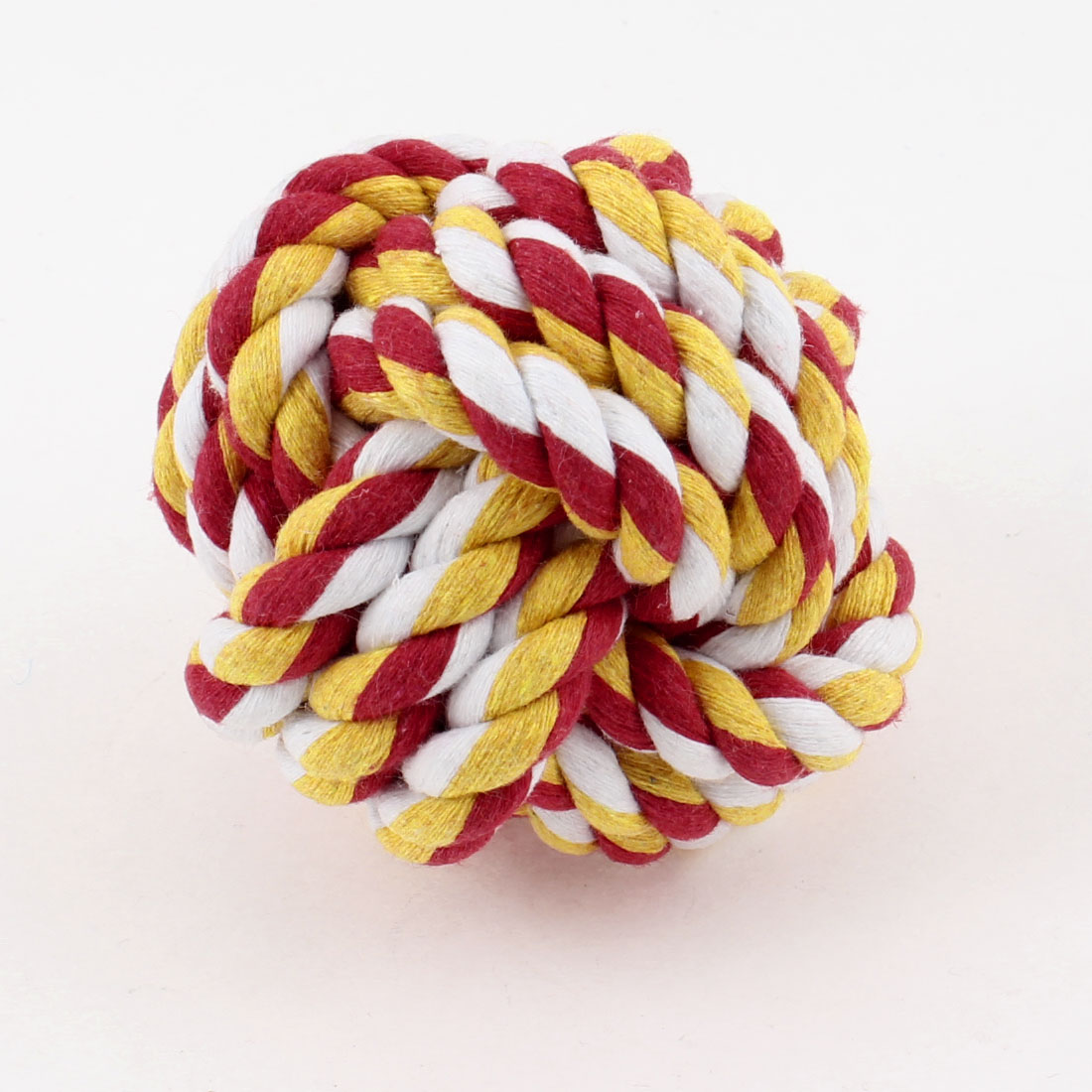 Pet Puppy 65mm Rope Ball Toy Red White Yellow Cotton Cord Twisting Roll