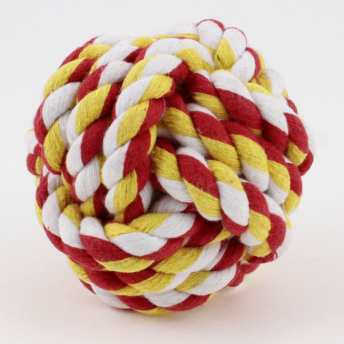 "Red White Yellow 2.8"" Diameter Cotton Strand Cord Woven Knot Dog Rope Ball Toy"