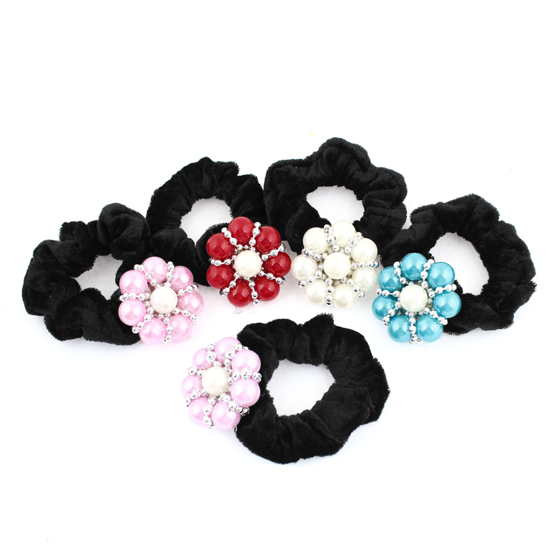 5 Pcs Wedding Flower Black Velvet Stretchy Hair Tie Ponytail Holder