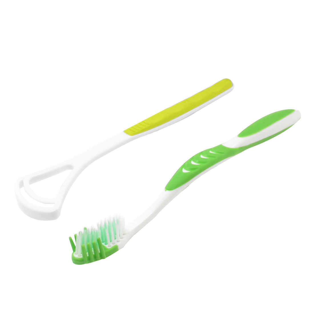 Long Platic Handle Green White Cleaning Teeth Tooth Brushes Set