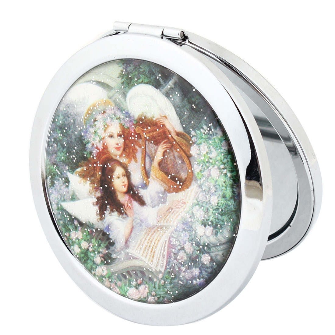 Mother Daughter Pattern Round Metal Casing Dual Sides Make up Compact Mirror