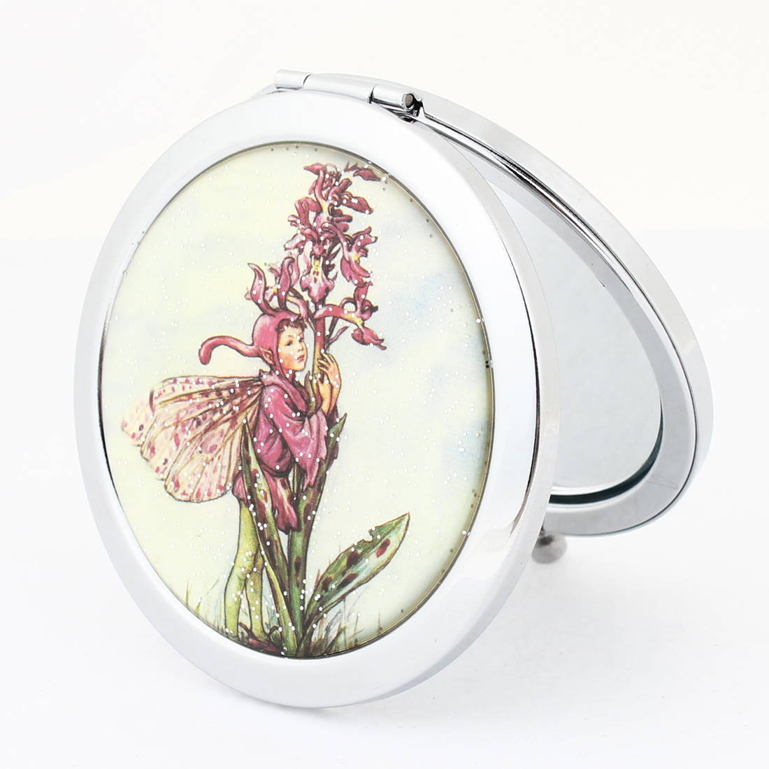 Double Sided Foldable Red Green Tree Print Cosmetic Mirror Sliver Tone