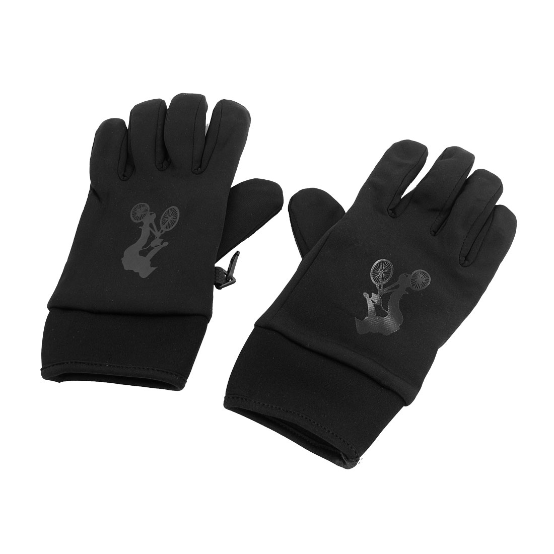 Black Bicycle Pattern Fleece Lining Skiing Snowboard Winter Snow Gloves