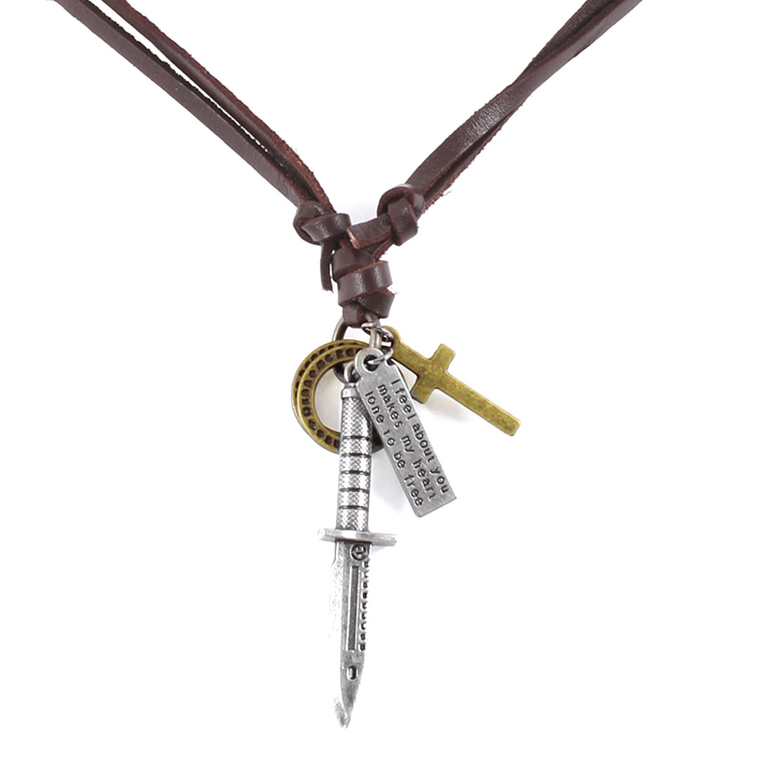 Coffee Color Faux Leather String Bronze Tone Metal Cross Circle Sword Necklace