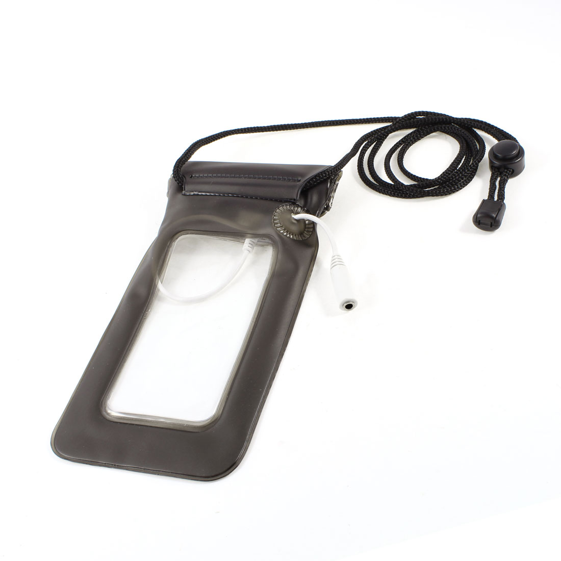 "Dark Gray PVC Waterproof Bag Pouch w 3.5mm Jack Audio Cable for 4.3"" Cell Phone"