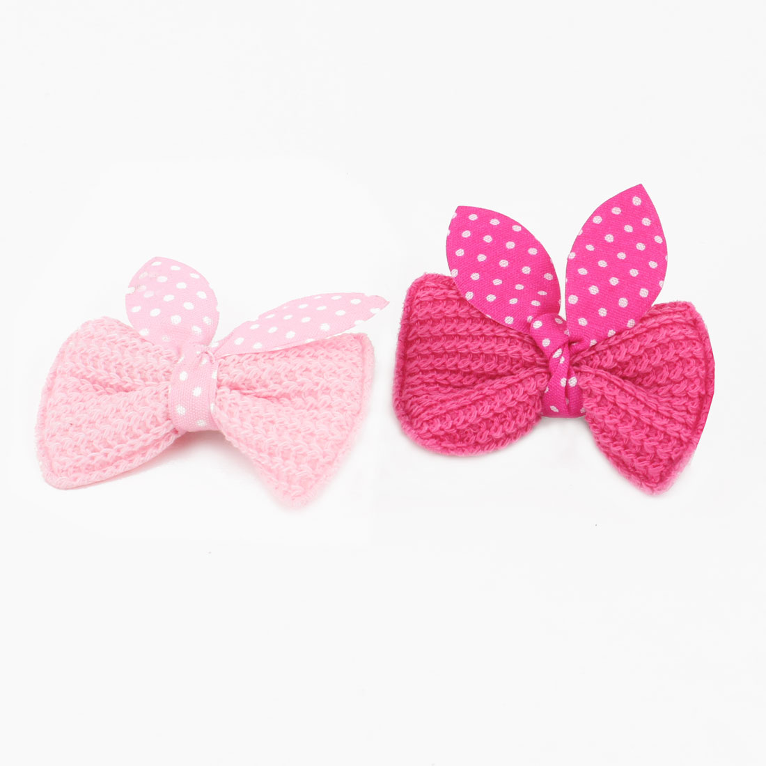 Pet Cat Dog Dot Bowknot Detail Alligator Hair Clip Hairpin Fuchsia Pink 2PCS