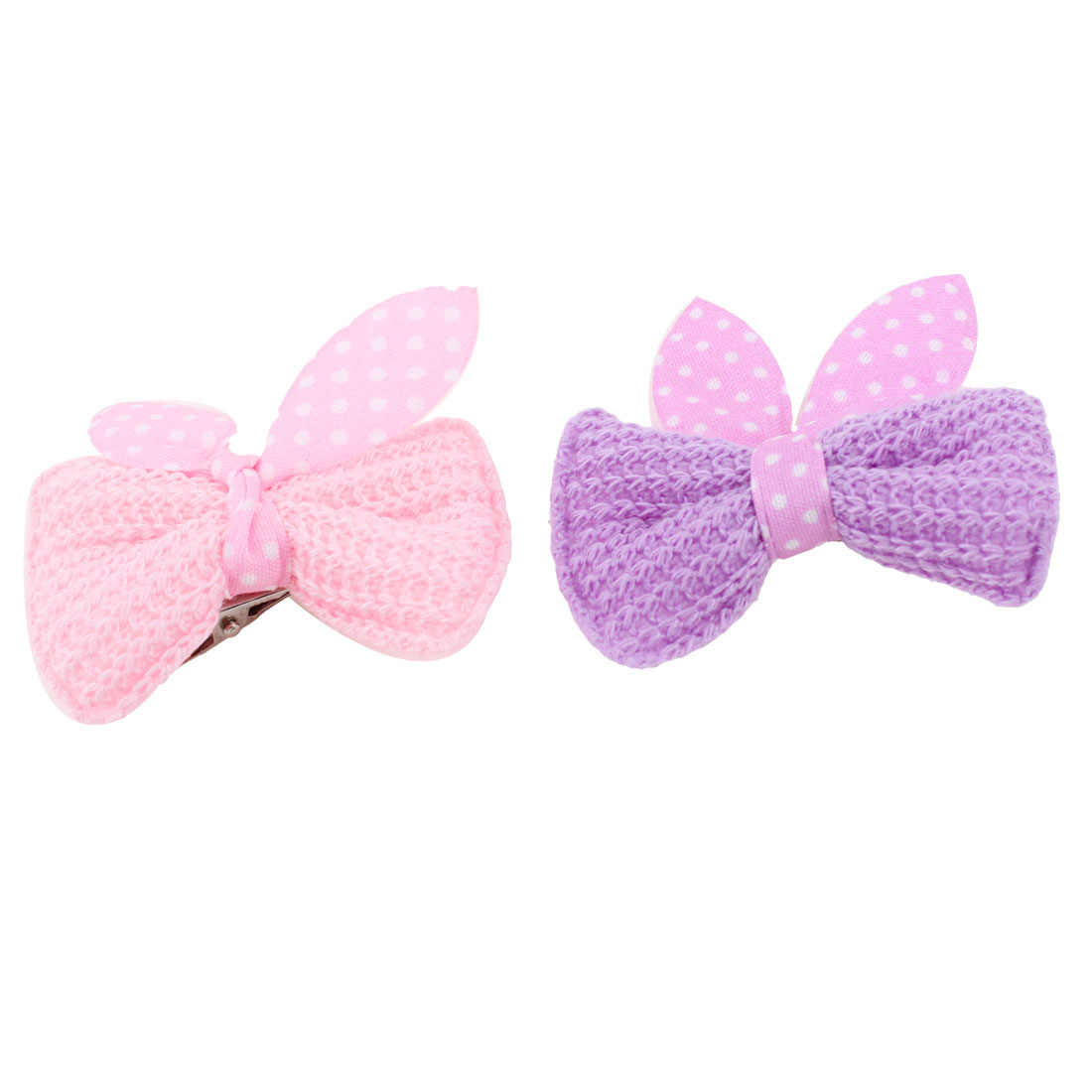 Pet Cat Dog Dot Bowknot Detail Alligator Hair Clip Hairpin Purple Pink 2PCS