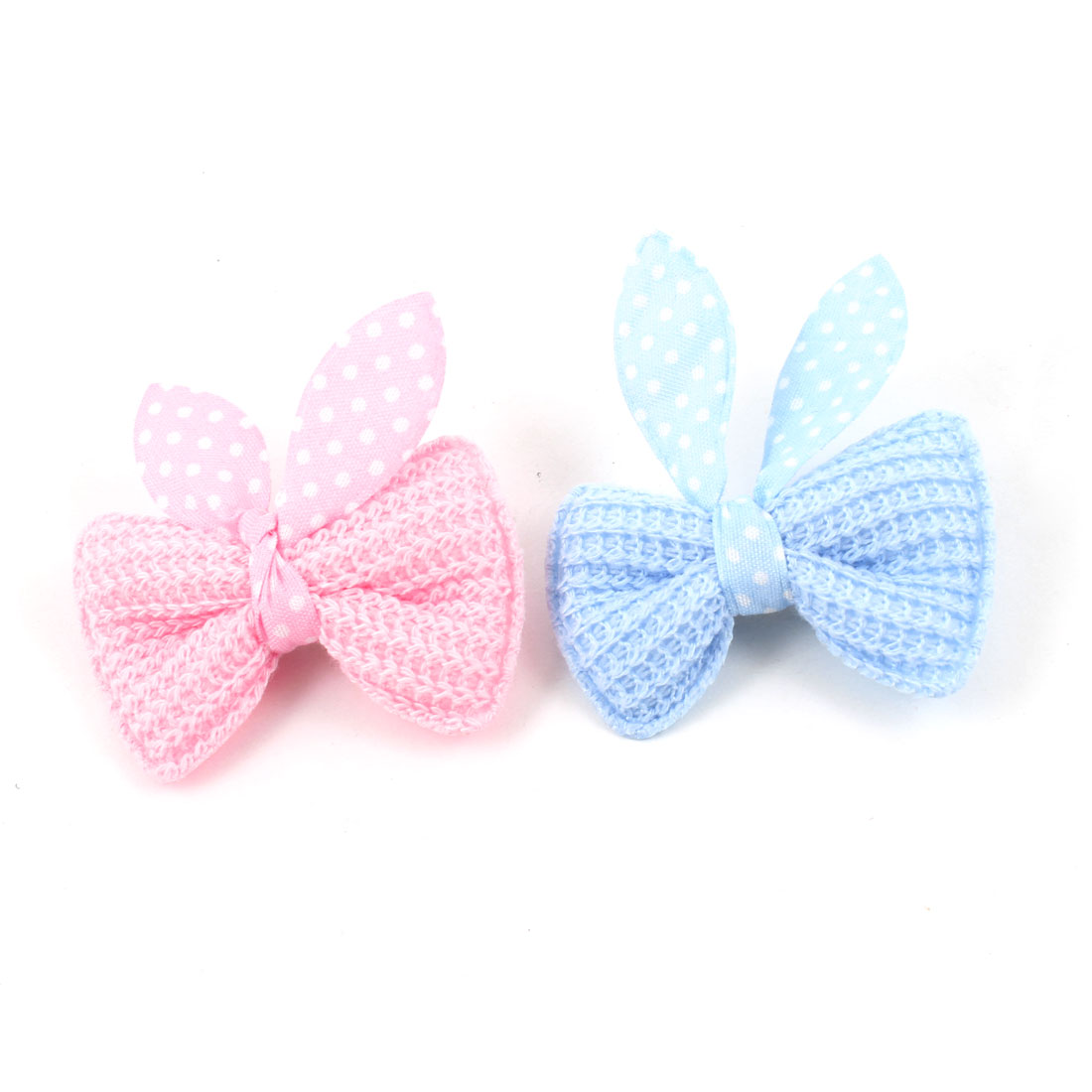 2 Pcs Pink Blue Dot Bowknot Detailing Alligator Hair Clip for Pet Puppy