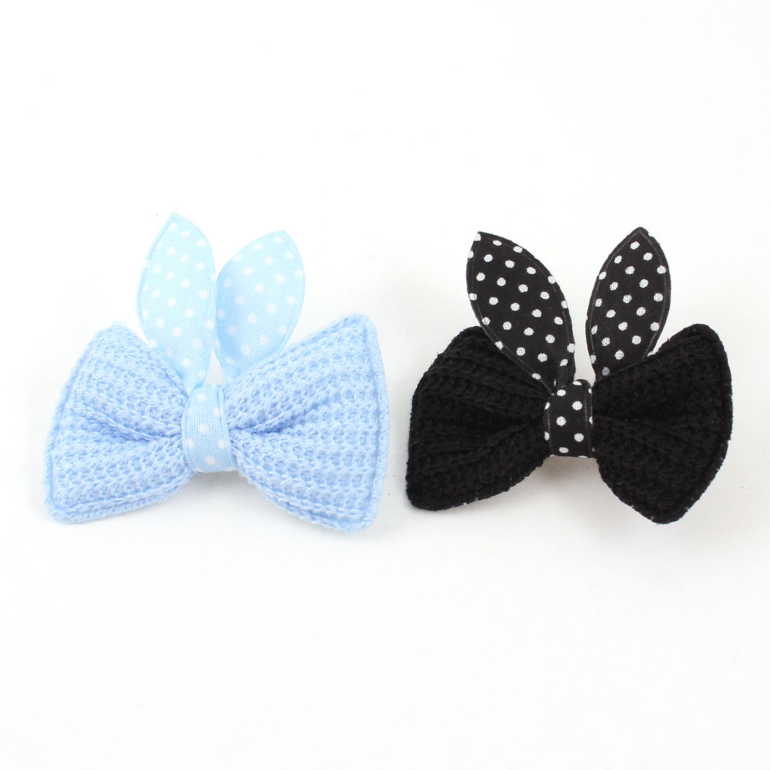Pet Cat Dog Dot Bowknot Detail Alligator Hair Clip Hairpin Blue Black 2PCS