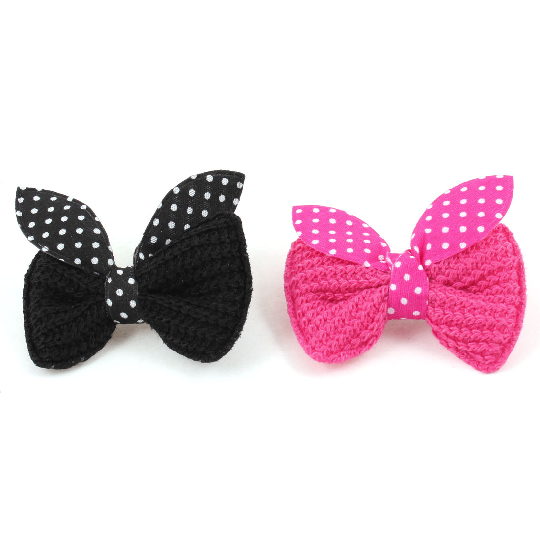 Pet Doggie Fuchsia Black Dot Bowknot Accent Alligator Hairclips Hair Pins 2PCS