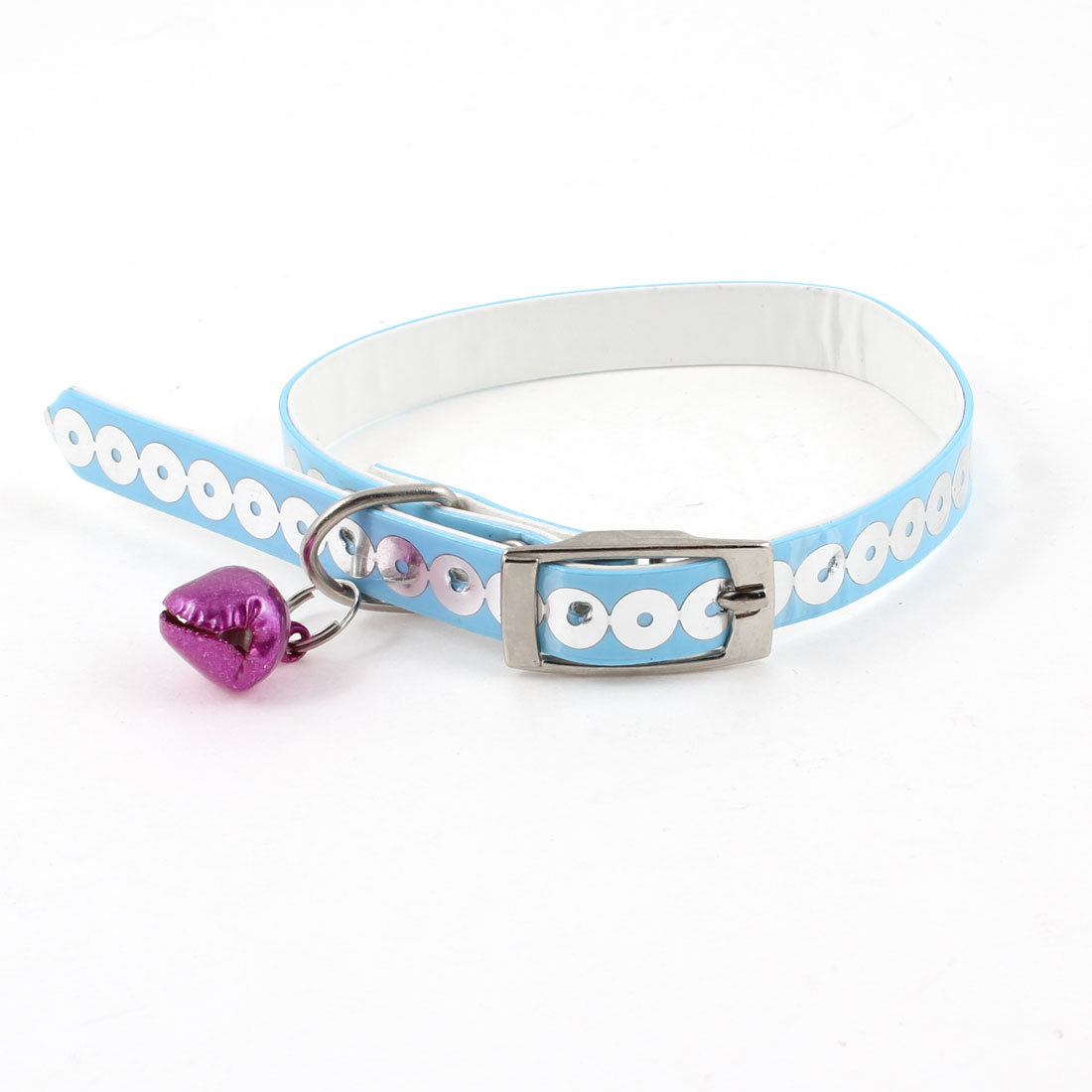 "0.35"" Wide Jingle Bell Sequin Accent Adjustable Pet Dog Puppy Collar Blue"
