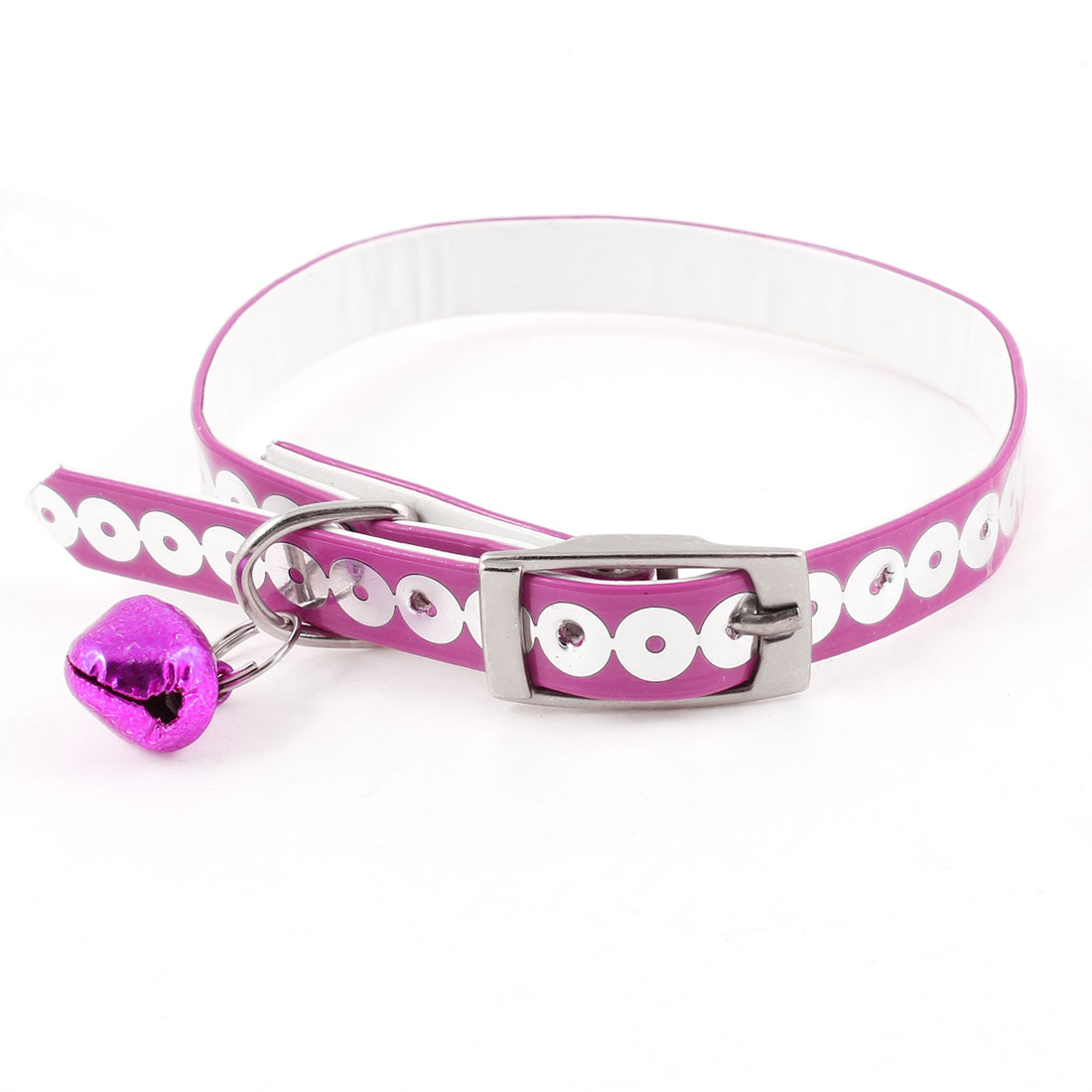 Faux Leather Adjustable Metal Jingle Bell Sequin Detail Dog Pet Collar Fuchsia