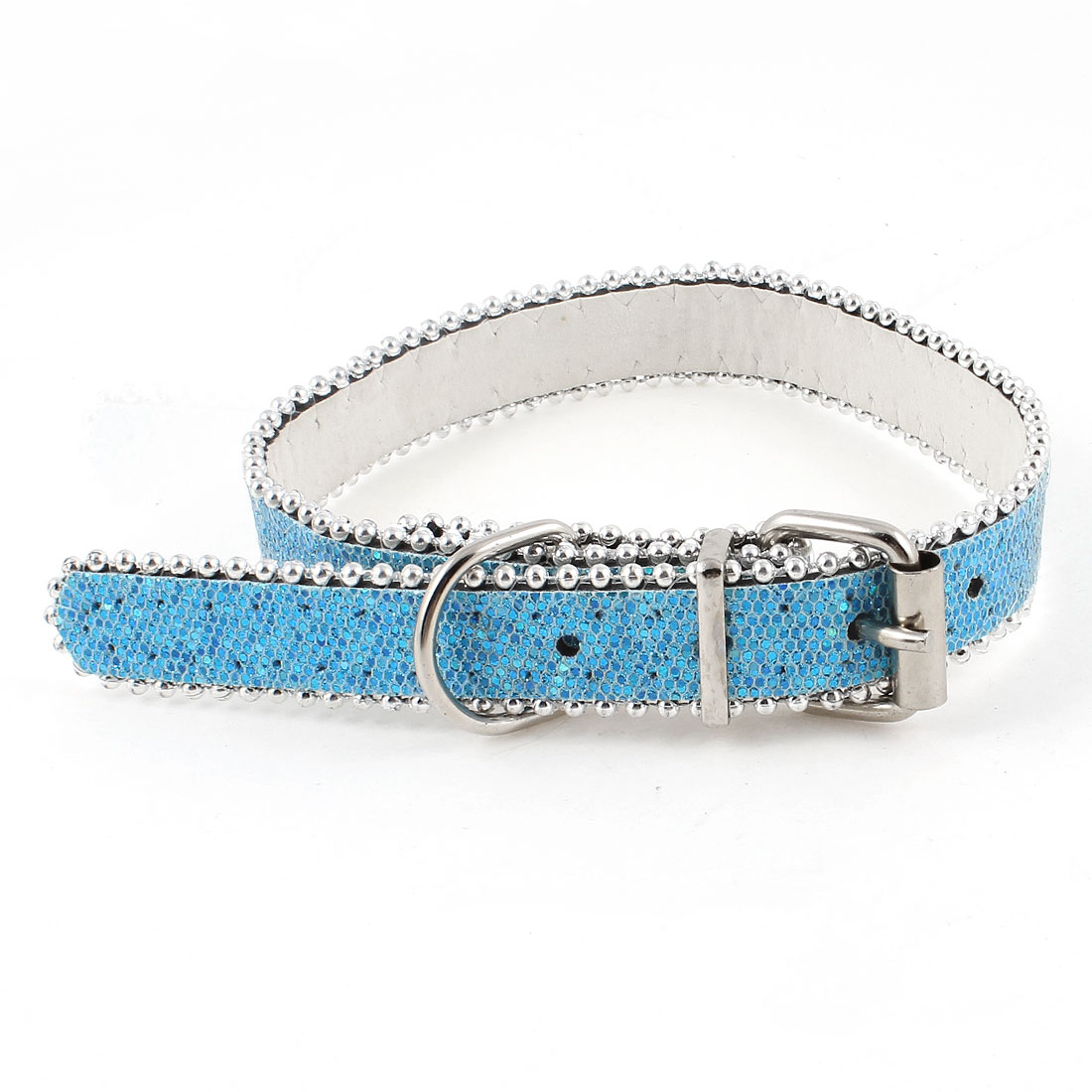 "0.8"" Wide Belt Glitter Powder Plastic Bead Accent Adjustable Pet Puppy Collar Blue"