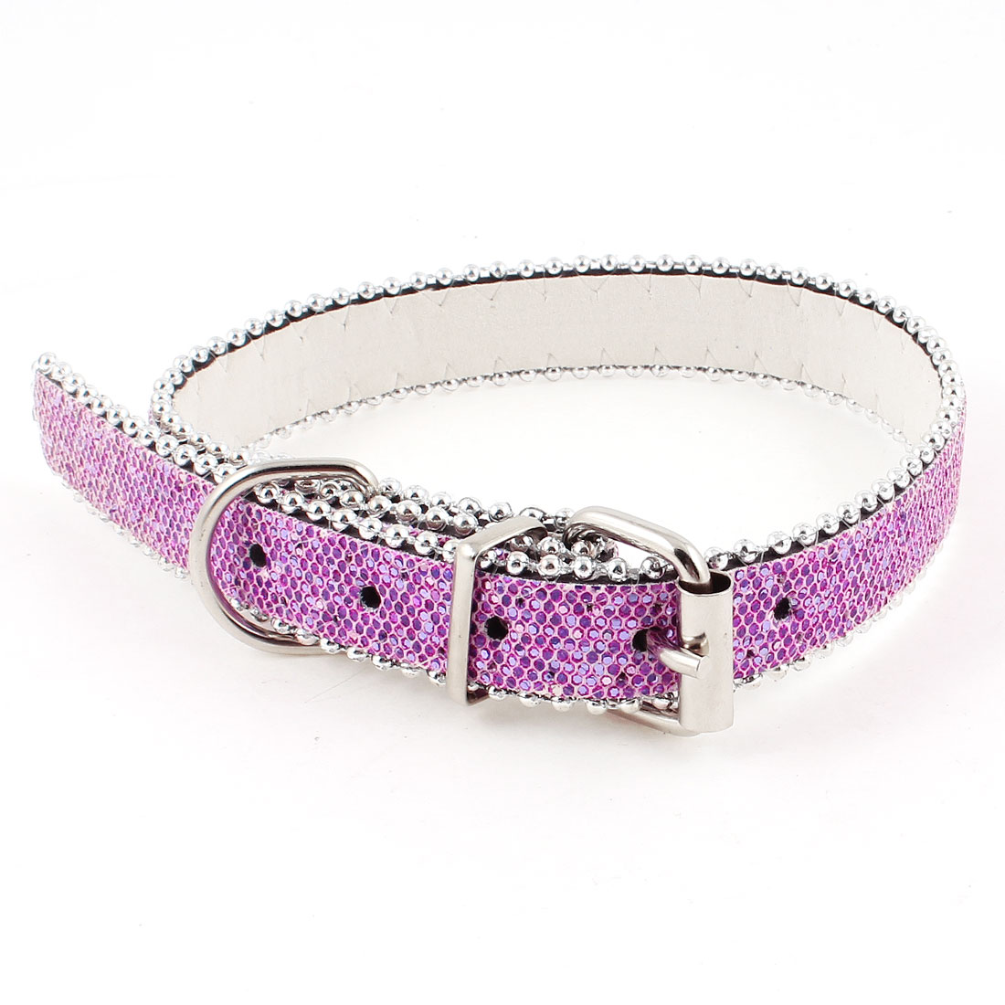 One Pin Buckle 5 Hole Glitter Powder Decor Belt Cat Dog Pets Neck Collar Fuchsia