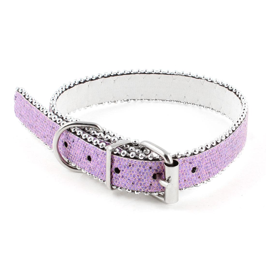 Faux Leather Adjustable Glitter Powder Plastic Bead Detail Dog Pet Collar Light Purple