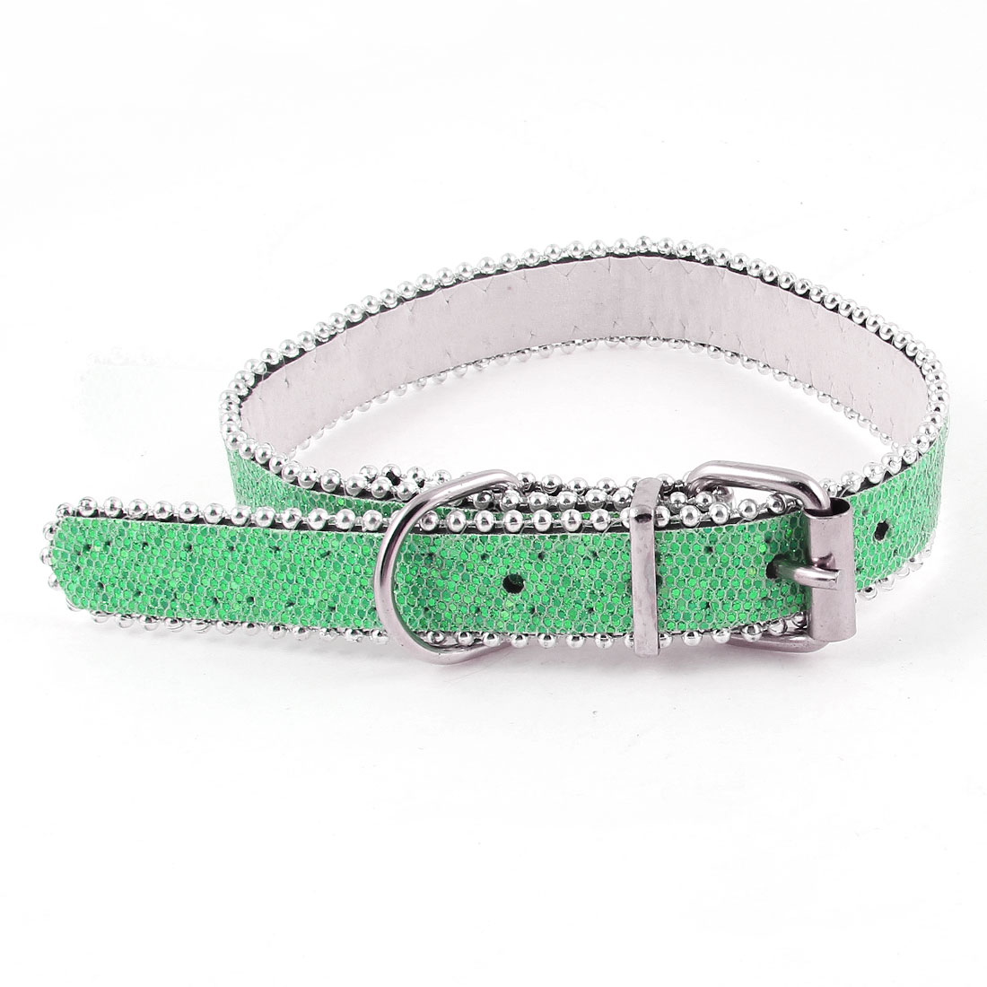 One Pin Buckle 5 Holes Glitter Powder Decor Belt Cat Dog Pets Neck Collar Green